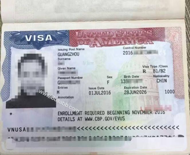 美国生子客户visa照